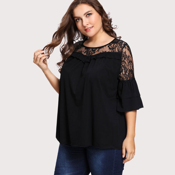Black Lace Tiered Layer Top (plus)
