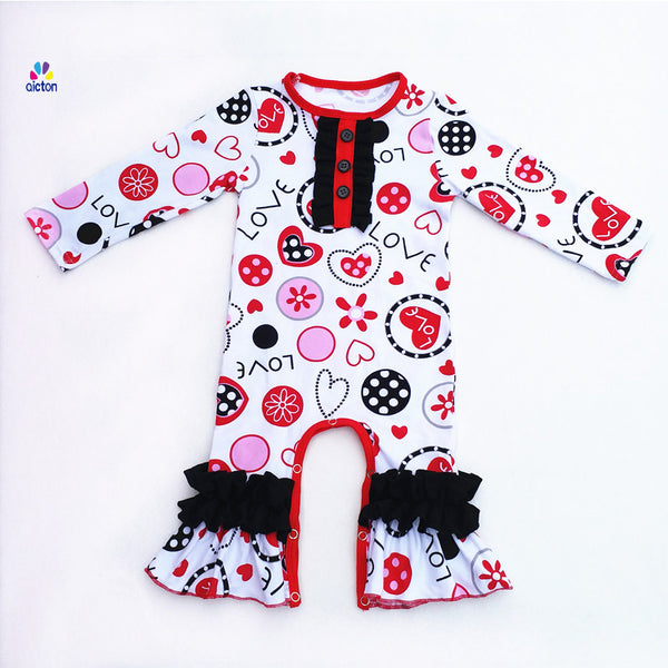 cute baby outfit for Valentines day, baby Vday romper, ruffles and heart outfit for baby girls