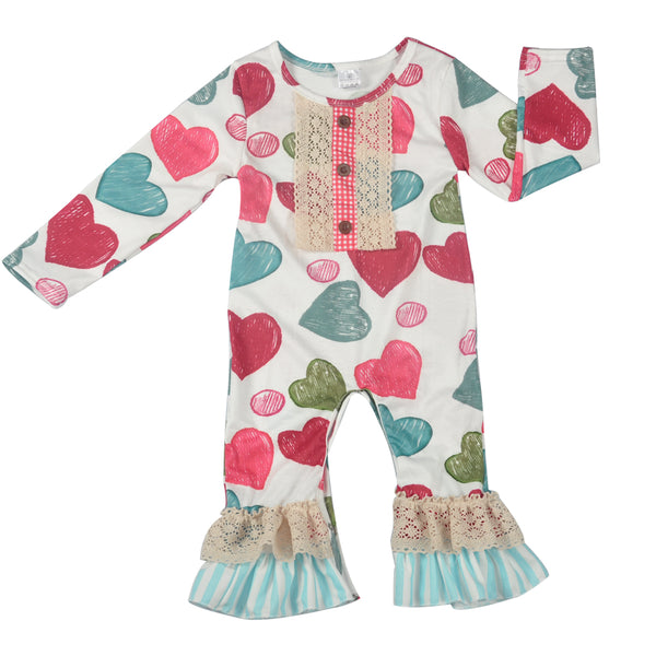 cute baby Valentines outfit for girls, hearts rompers, vintage cute baby outfit