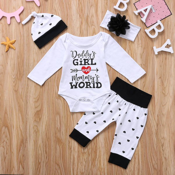 Daddy's girl and mommy's world baby outfit, baby girl boutique set
