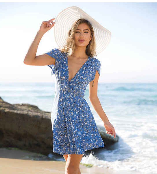 Blue Floral Beach Sundress