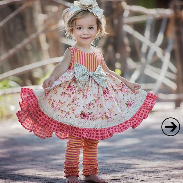 adorable spring outfit for toddlers, little girls, floral ruffled boutique dress, spring trends