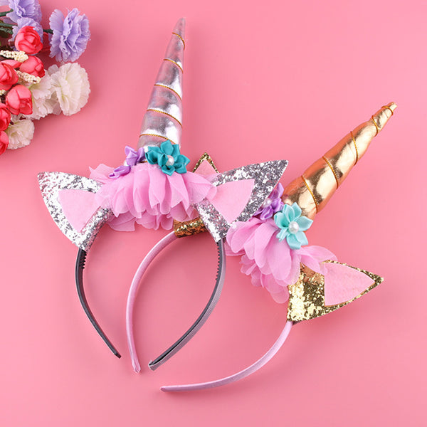 unicorn headband, little girl unicorn headband for play or party favors
