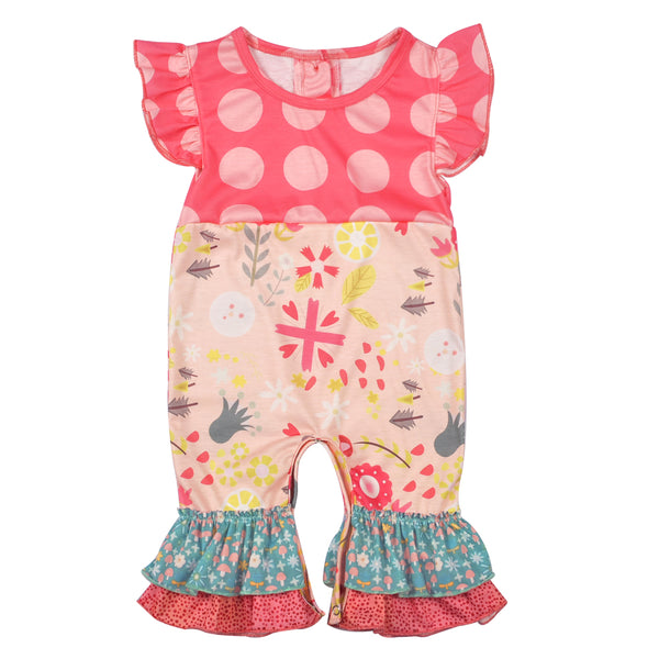 adorable rompers for baby girls, boutique ruffled romper baby girl matching sister outfits