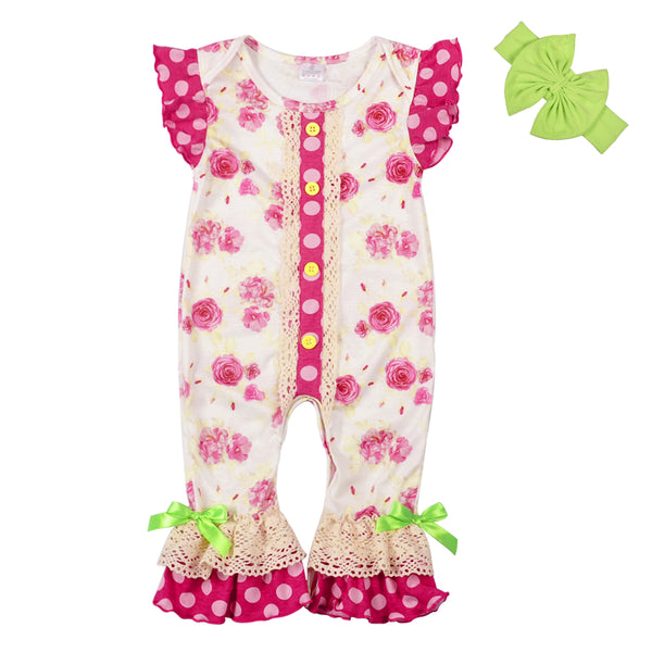 super cute baby boutique, spring pink and green lace ruffled romper for baby girls