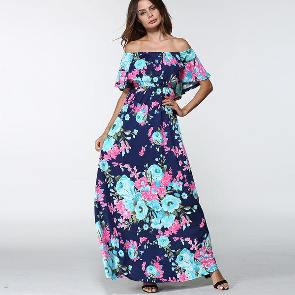 gorgeous long summer maxi, floral maxi with cold shoulder, long maxi dress