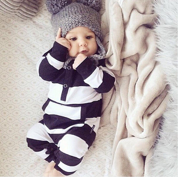 adorable baby boy outfit, black and white striped pocket romper