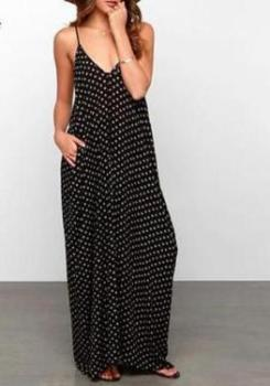 cute summer maxi, polka dot dress with pockets, favorite maxi