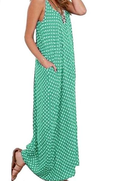 spring and summer maxi dress, dress with pockets, ladies dress
