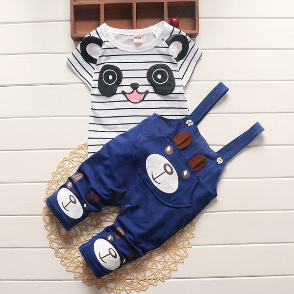 cute boutique play set for little boys, panda and overalls