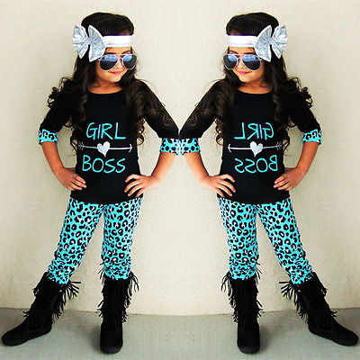 Girl Boss boutique outfit for girls, blue cheetah pants with matching top, fall boutique outfit for girls