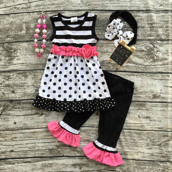 Super cute boutique outfit for girls, polka dots and ruffles pink black and white with bow