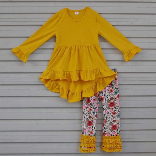 cute girls outfits for fall, mustard yellow top and floral pants for toddlers