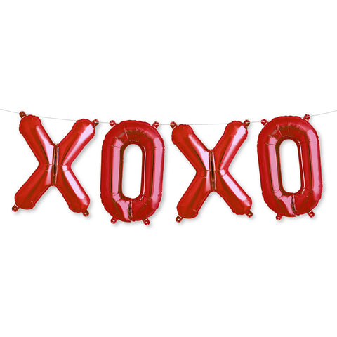 "16"" Red ""XOXO"" Valentine's Day Foil Letter Balloon Garland"