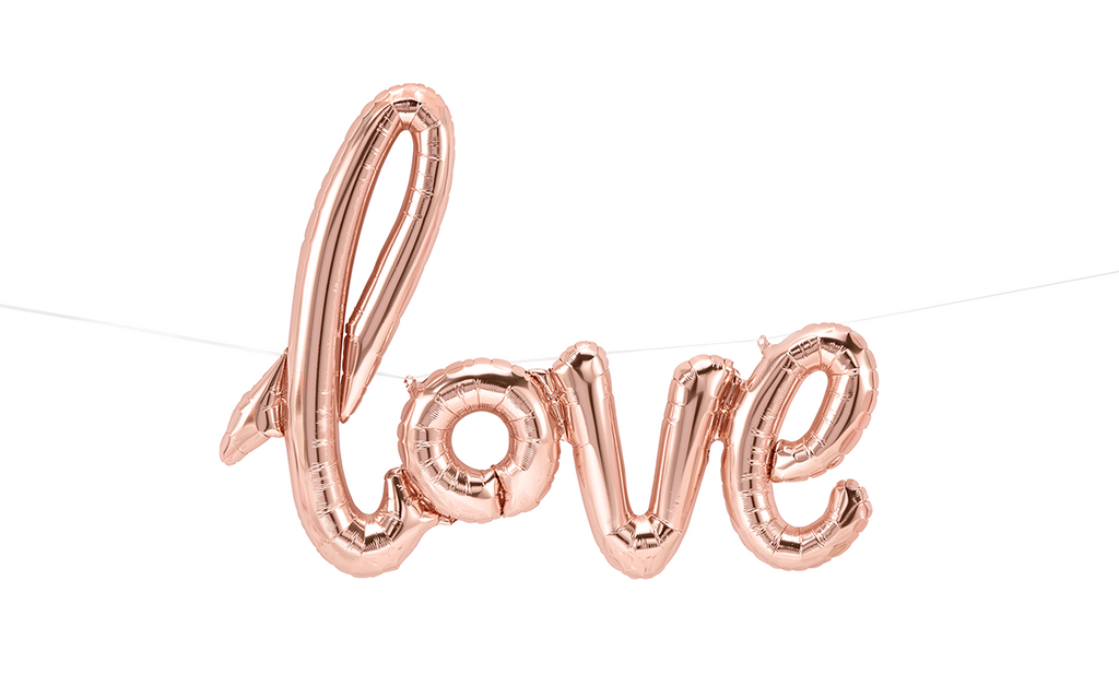 "Script Foil Balloon Spells ""Love"" in Rose Gold"
