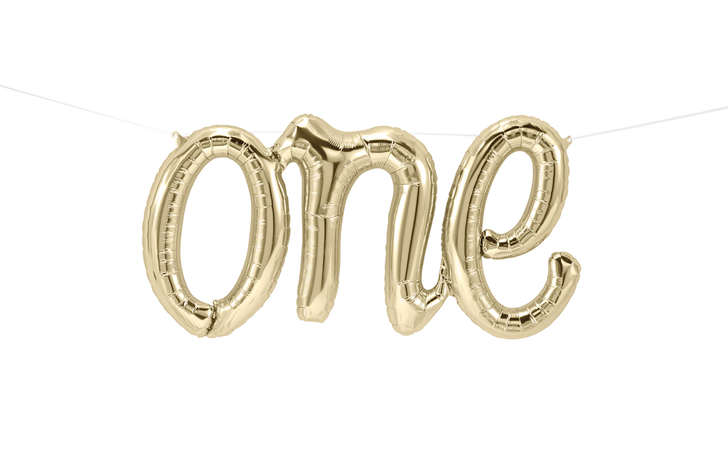"Script Foil Balloon Spells ""One"" in White Gold"