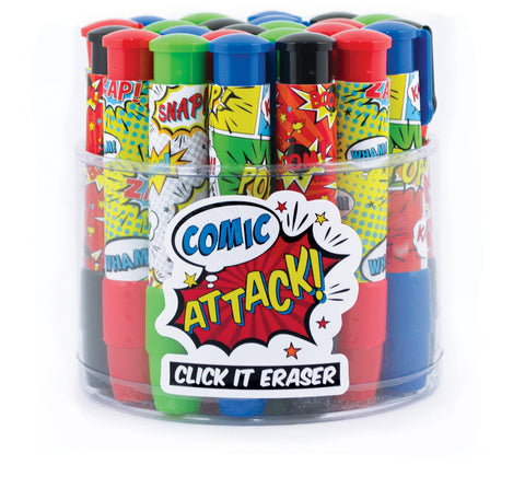 Comic Attack Click-It Erasers