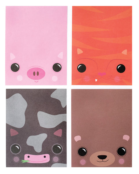 Fold Over Notepad in Animal Friends