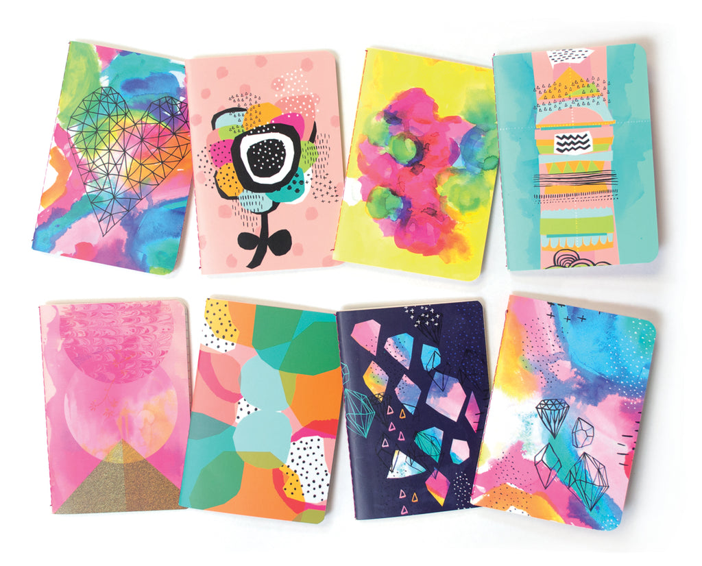Mini Pocket Pal Journals in Abstract Print (8-Pack)