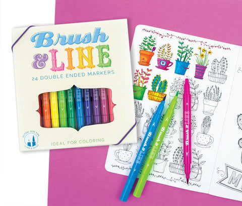 Brush and Line Double-Ended Markers (24-pack)