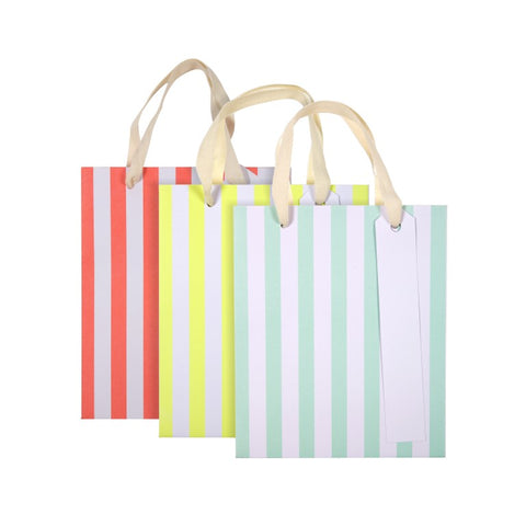 Neon Stripe Party Favor Bags (3-pack)