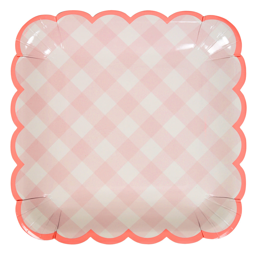 Pink Gingham Paper Plates (Large)