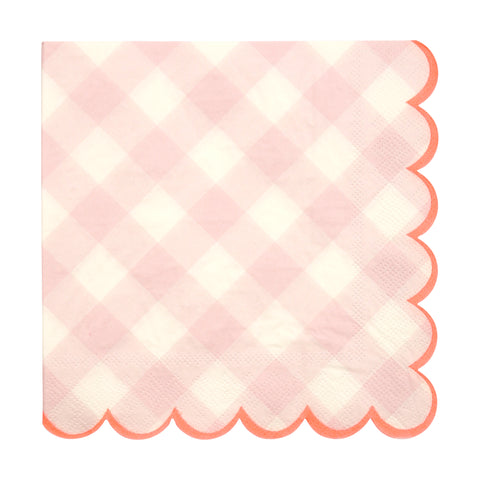 Pink Gingham Napkins (Large)