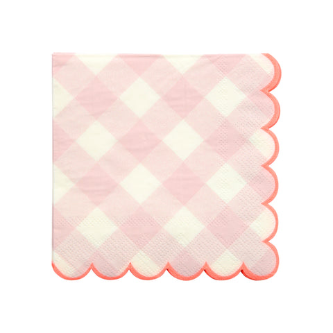 Pink Gingham Napkins (Small)