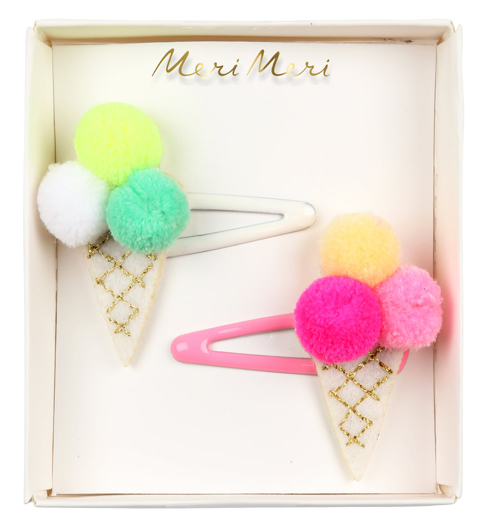 Pom Pom Ice Cream Hair Clips