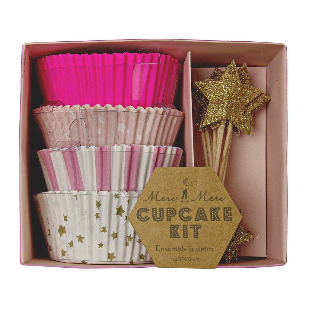 Pink and Gold Star Cupcake Kit