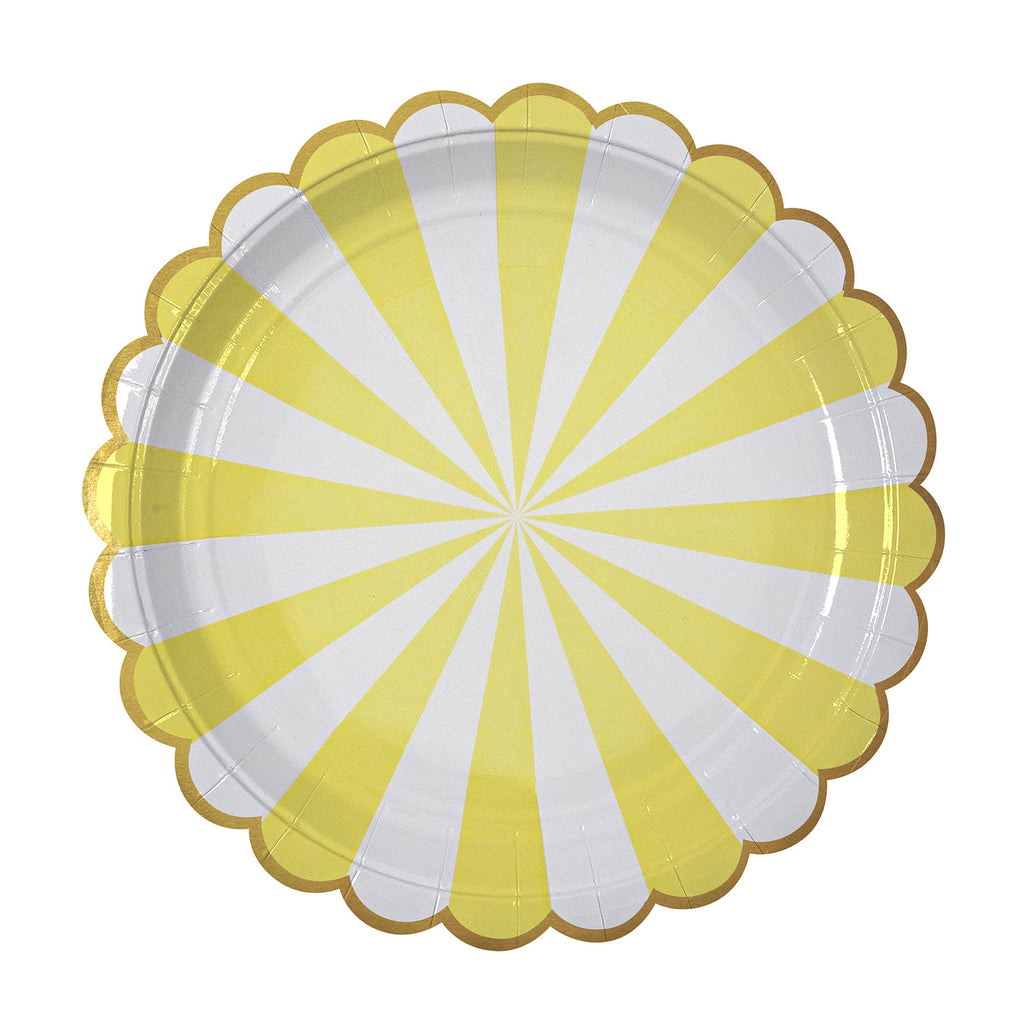 Stripe Paper Plates (Large) in Yellow