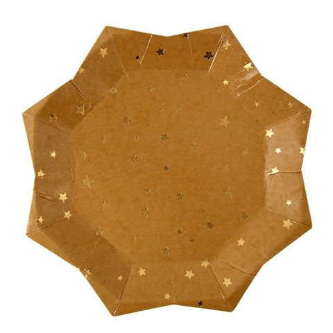 Gold Star Kraft Paper Plates (Large)