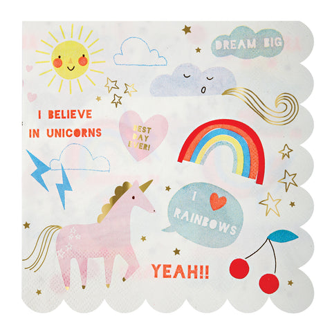 Rainbow & Unicorn Napkins (Large)