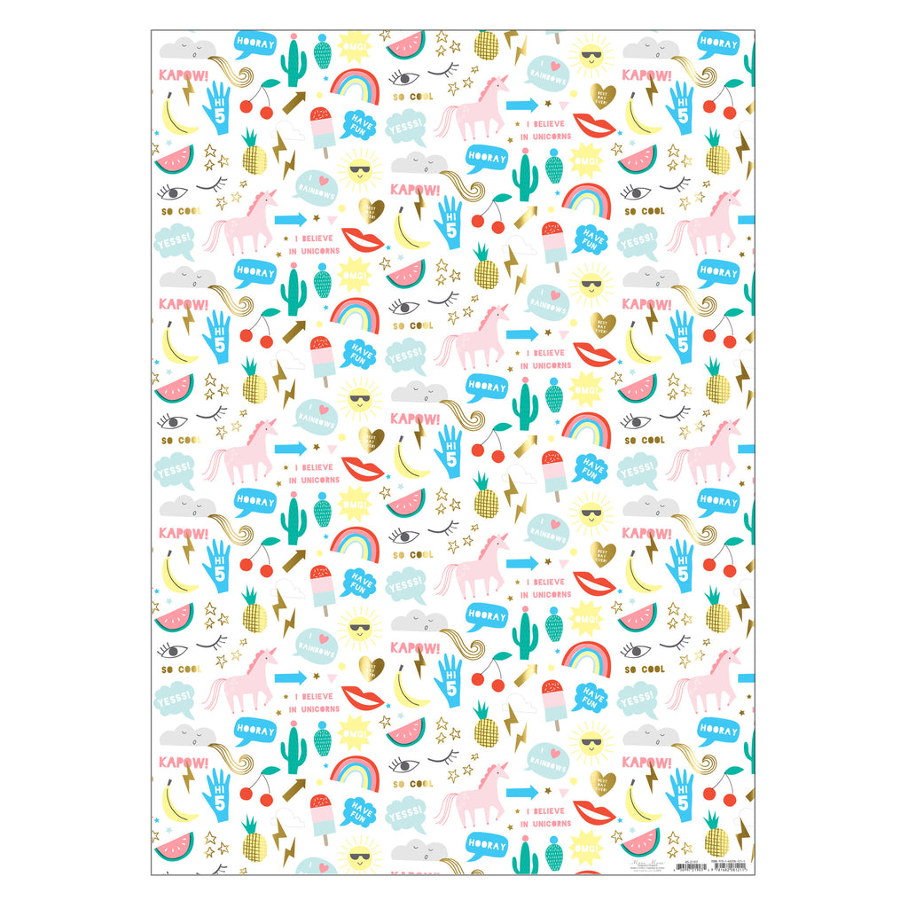 Wrapping Paper in Unicorns & Icons Print
