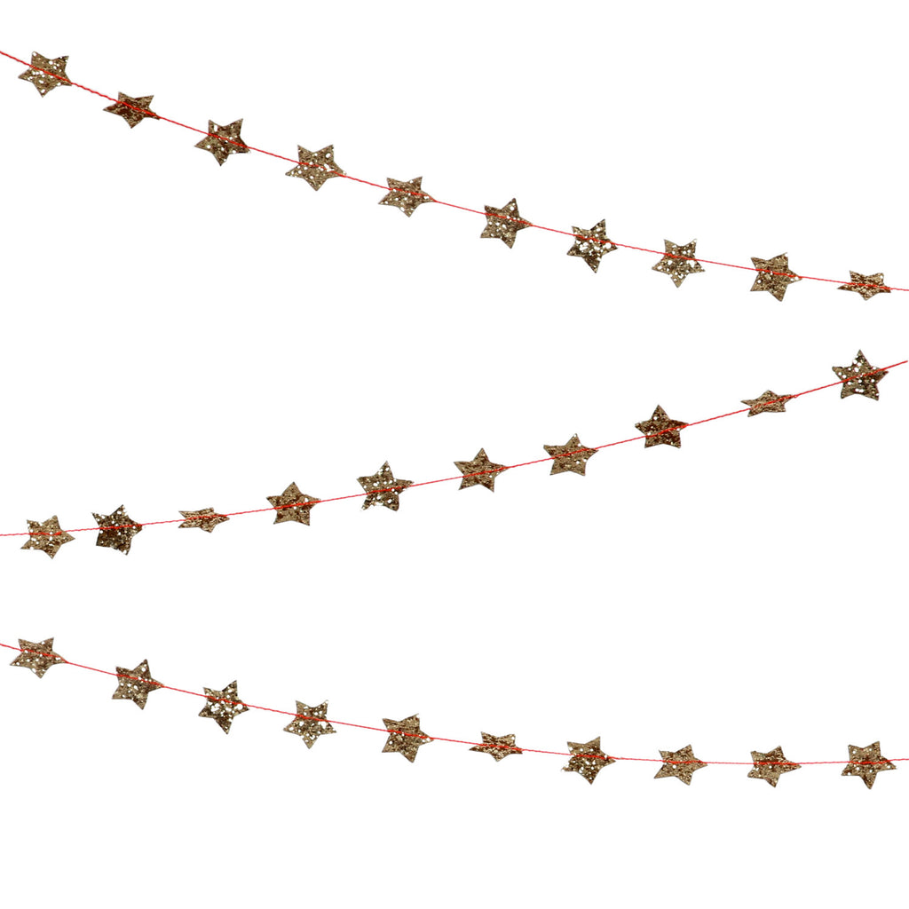 Mini Star Garland in Glitter Gold