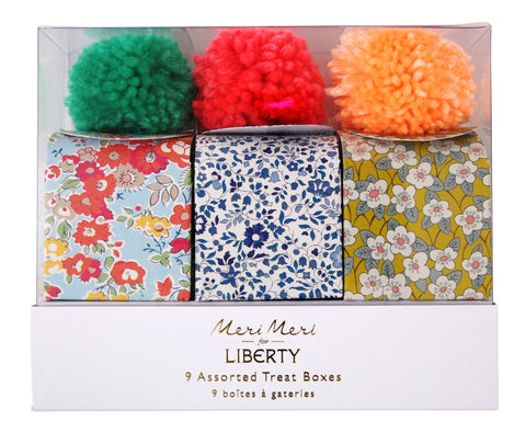 Pom Pom Mini Treat Boxes in Assorted Liberty Prints (9-pack)