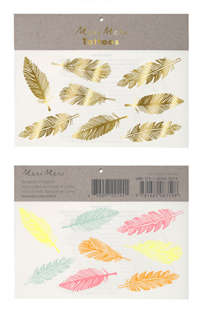 Neon And Gold Feather Tattoos