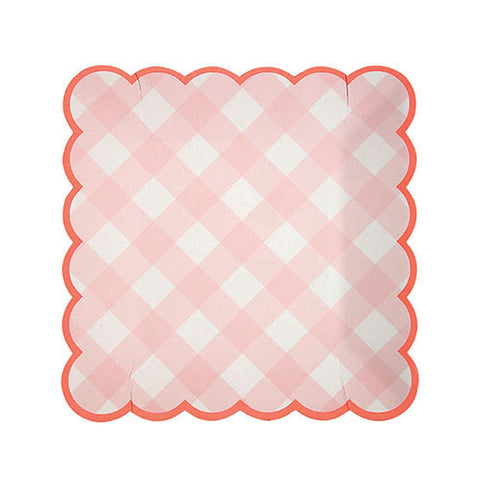 Pink Gingham Paper Plates (Small)