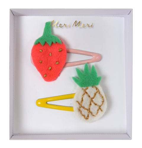 Strawberry + Pineapple Felt Hair Clips