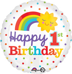 """Happy 1st Birthday"" Rainbow Sun Mylar Balloon"