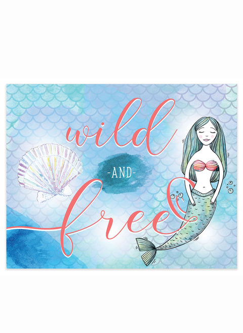"""Let's Be Mermaids, Wild & Free"" 8x10 Art Print"
