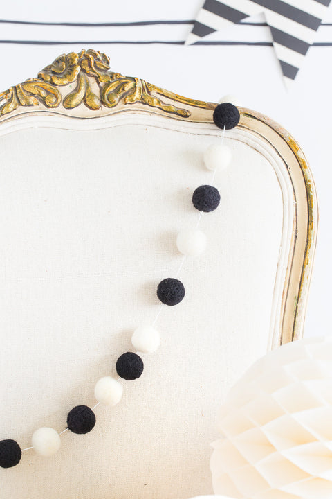 Felt Ball Garland in Black & White