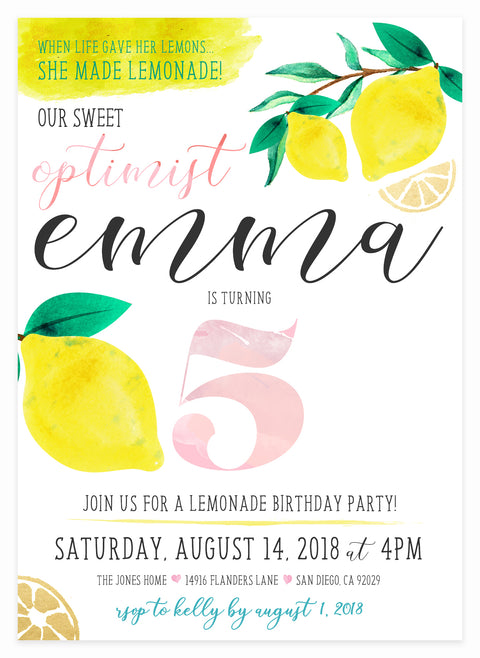 When Life Gives You Lemons, Make Lemonade Invitation by Kitty Meow Boutique