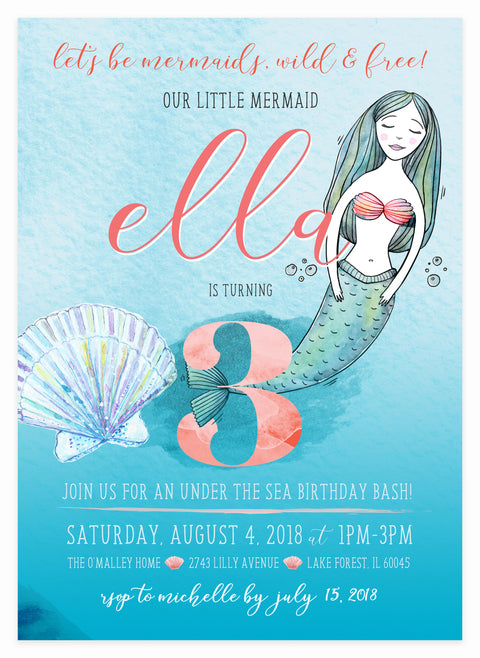 Mermaid Invitation by Kitty Meow Boutique