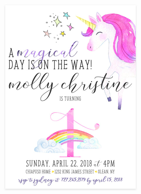 Unicorn Invitation by Kitty Meow Boutique