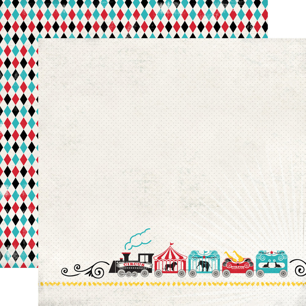 Party Paper Placemat in Circus Train Print