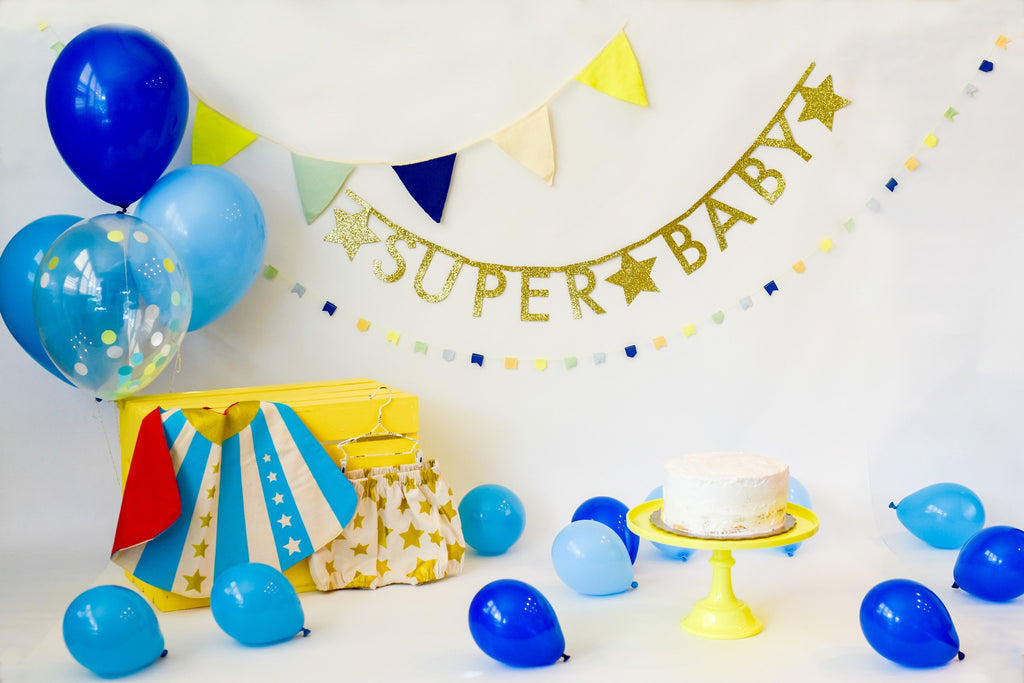 """Super Baby"" Smash Cake Bundle in Blue"