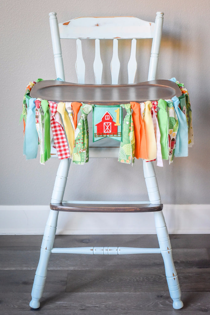 Little Farmer High Chair Banner in Green