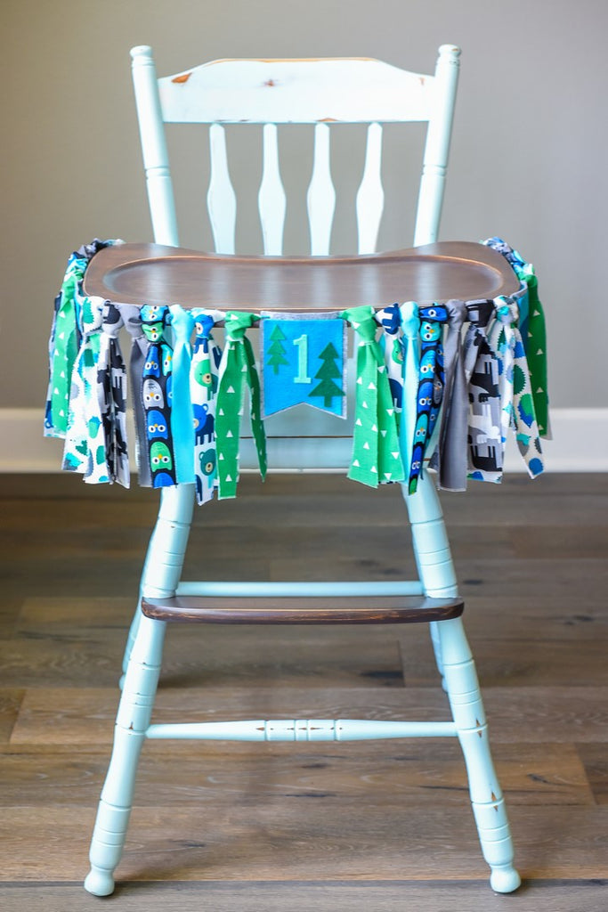 Woodland High Chair Banner in Blue Bear Handmade by Sugar Moon Bloom
