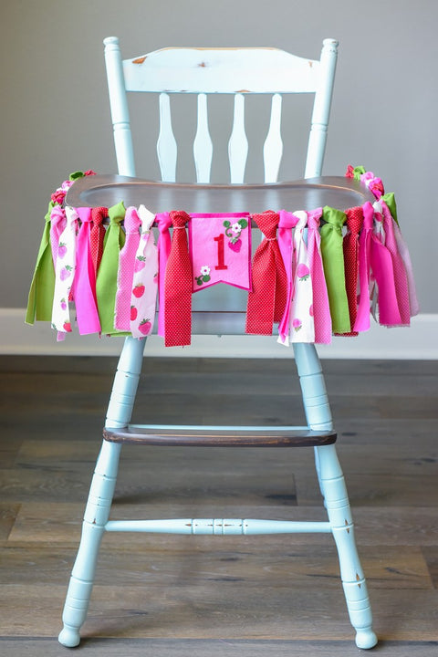 Strawberry Picnic High Chair Banner Handmade by Sugar Moon Bloom
